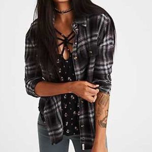 american eagle destroyed plaid flannel